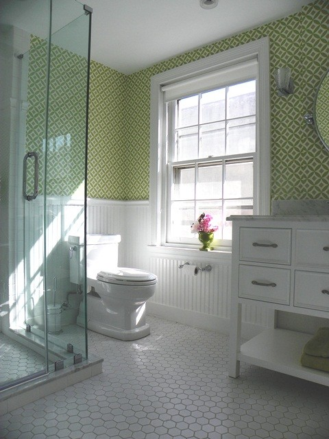 Black Beadboard Wallpaper Girl S Bathoom Vintage Style Traditional Bathroom