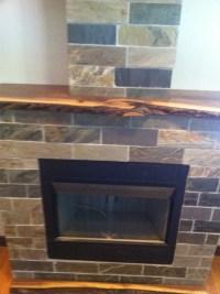 Live wood slab fireplace mantel
