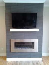 Contempory Mantel with Stainless Steel Fireplace Insert ...