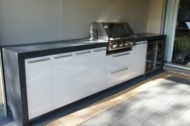 outdoor kitchen polished concrete benchtop with