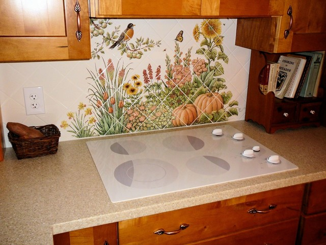 diagonal kitchen backsplash tile mural installed traditional kitchen donna kitchen backsplash design hand painted tiles
