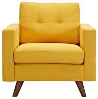 Papaya Yellow Uma Armchair, Dark Walnut Wood Color ...