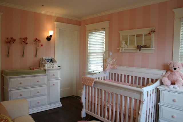 Baby Girl Nursery Flower Wallpaper Pink Baby Room Traditional Kids Charlotte By