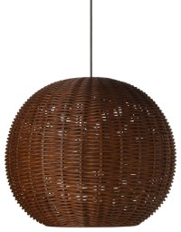 Wicker Ball Pendant Light, Rustic Brown - Tropical ...