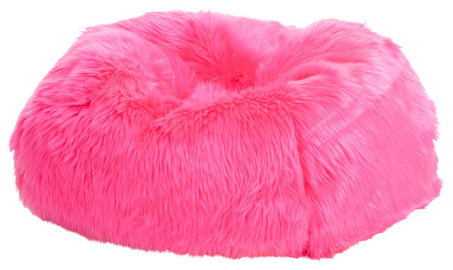 Fuzzy Pink Bean Bag Chairs