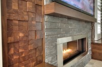 Wood cobble stone wall - Contemporary - Living Room ...