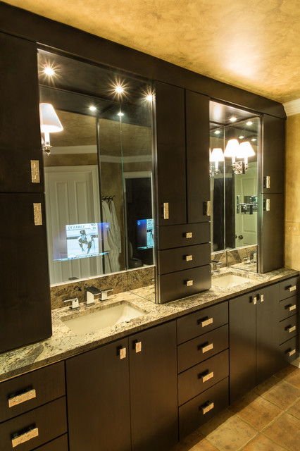 Master Bath with TV behind mirror - Transitional - Bathroom - other metro - by CHATHAM INTERIORS ...
