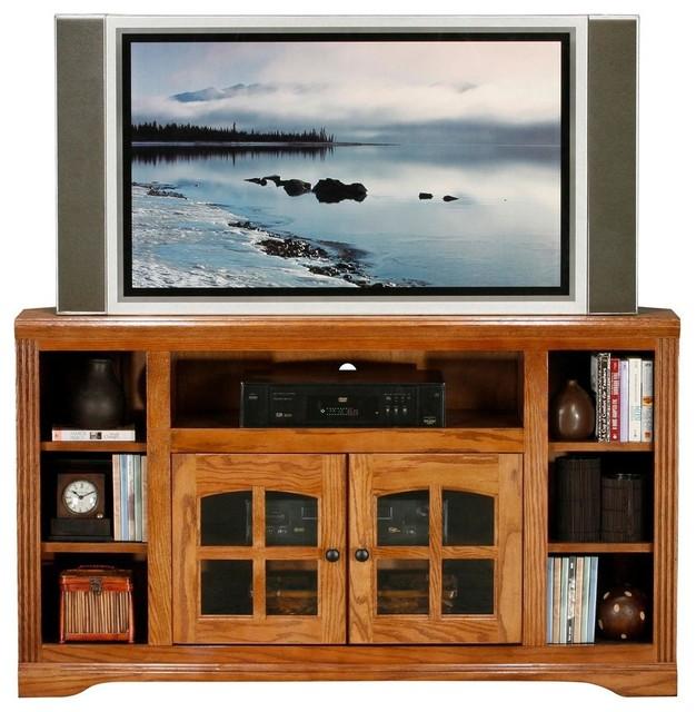 Oak Ridge Corner Entertainment Console W Shelves Medium