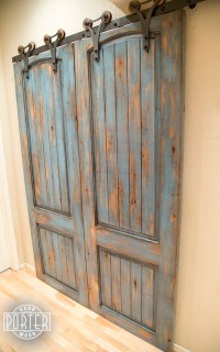Sliding Paneled Door - Distressed Ignite Finish - Rustic ...