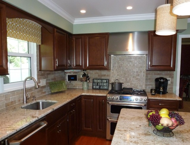 colonial gold counters faux brick backsplash traditional kitchen elegant brick backsplash kitchen presented soft colors