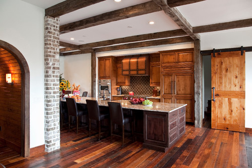 Kitchen Island Beadboard From Rustic To Chic: 15 Kitchens With Barn Door Accents