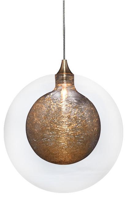 Kadur Glass Pendant Light, Clear with Gold Inner
