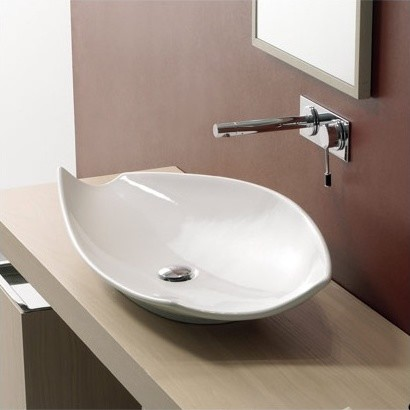 Kong 70 Above Counter Bathroom Sink In White Modern