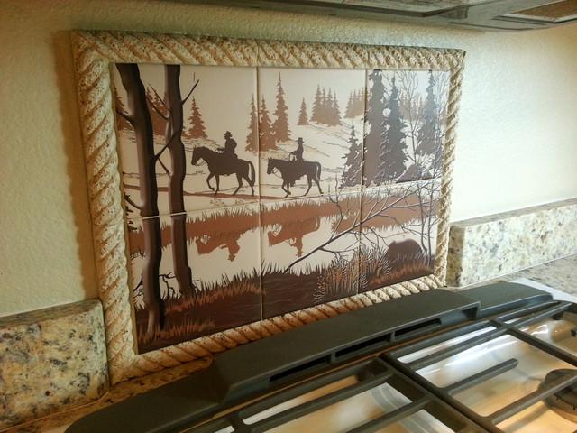 splash tile mural western designers choice tile rustic kitchen rustic kitchen backsplash tile
