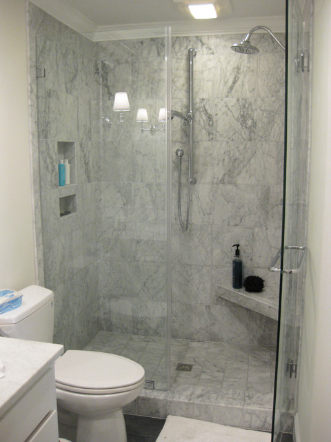 Houzz Showers Marble Tile Shower With Slate Floor - Traditional