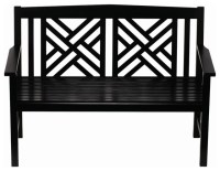 Fretwork Bench, Black Polyurethane - Traditional - Outdoor ...