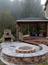 Outdoor Fireplace with Pizza Oven and Fire Pit ...