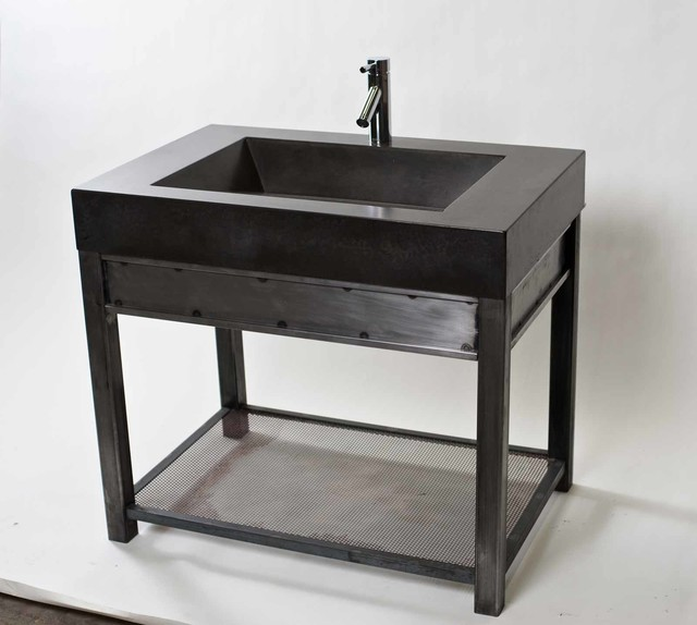 Steel vanity with charcoal concrete sink modern