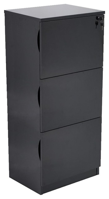 Forbes 3 Drawer Black High Gloss Filing Cabinet