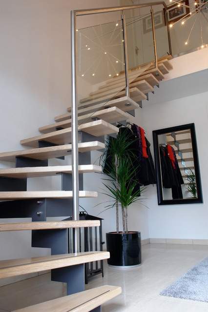 Staircase Hanging Lights Corner Stairs With Wood Treads