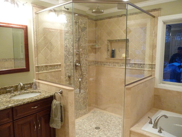 Houzz Showers Uniquely Transitional Bathroom Remodel - Traditional