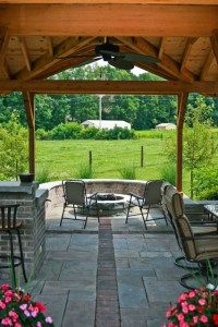 Covered Patio with brick firepit - Traditional - Patio ...