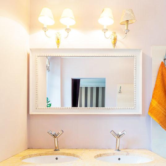 Custom size white framed mirror