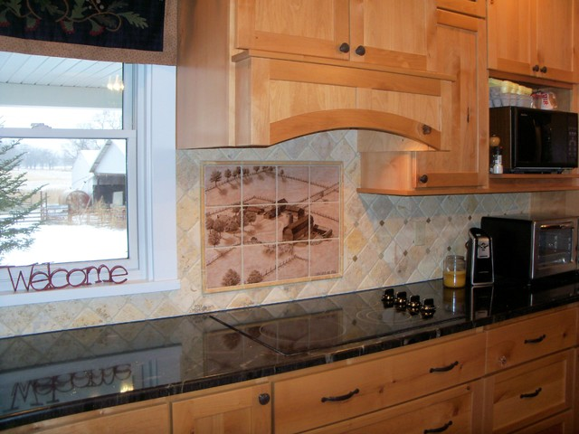 michigan farmstead hand painted kitchen backsplash tile mural kitchen white painted brick kitchen backsplash transitional kitchen