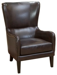 Clarkson Brown Leather Wingback Club Chair - Transitional ...