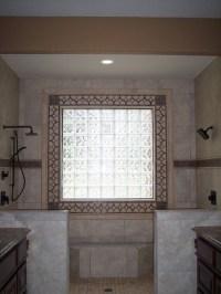 Decorative tile around glass block window - Traditional ...