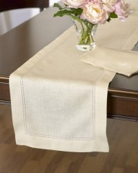 Hemstitched Linen Table Runner - Traditional - Table ...