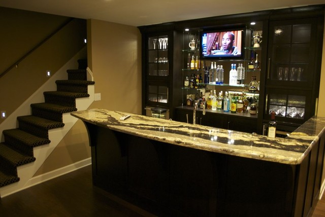 Houzz Basements Renovated Home Theater And Bar - Contemporary - Basement