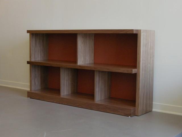 Low Bookcase Walnut Laminate Modern Bookcases
