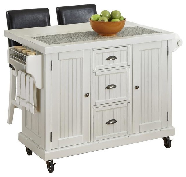 Nantucket Distressed White Finish Kitchen Island By Home Styles Distressed White Kitchen Cart And Two Stools