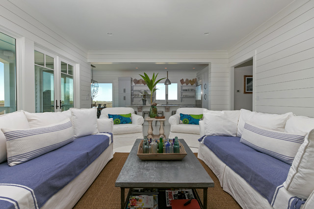 Kitchen Pendant Lighting Over Island White House White Family Room With Blue Couches - White