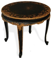 French Accent Table Elfride, Distressed Black Baroque ...