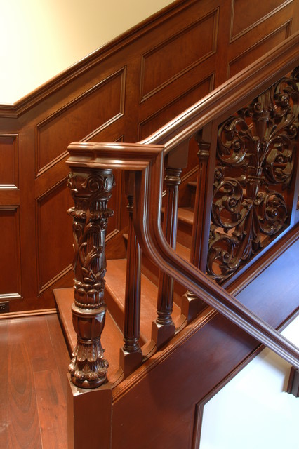 Houzz Pillows Hand Carved Stair - Traditional - Staircase - Other Metro