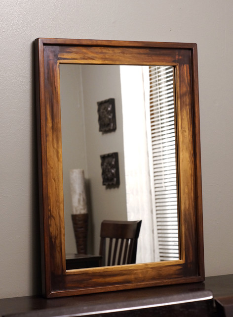Wood framed mirrors rustic milwaukee by kennethdante woodworks
