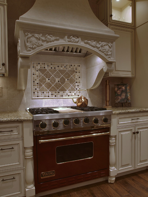 Pendant Lighting For Traditional Kitchen White Antique-look Old-world Kitchen Hood - Traditional