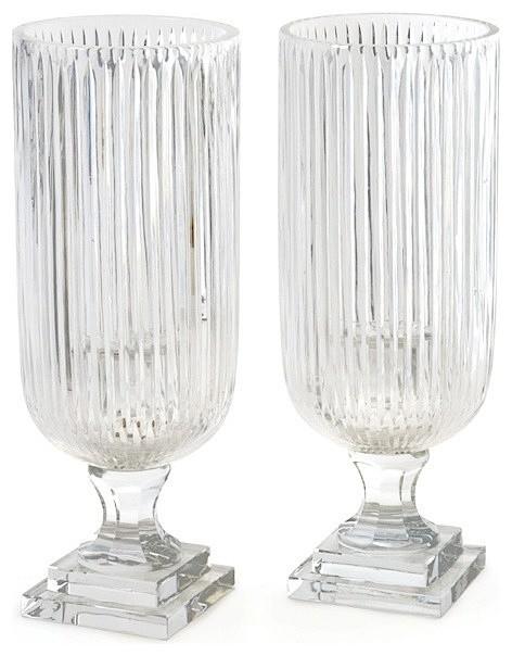 Prismatic Glass Hurricane Lamp Lantern, Set of 2 Candle