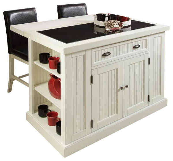 Nantucket Distressed White Finish Kitchen Island By Home Styles Kitchen Island, Distressed White Finish Transitional