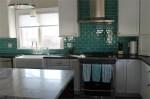 Teal Glass Tile Kitchen Backsplash