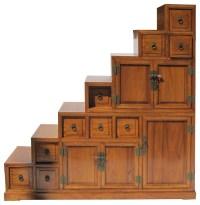 Oriental Japanese Style Step Tansu Cabinet