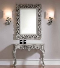 Console and Mirror Set in Silver - Traditional - Side ...