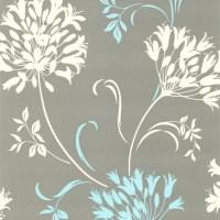Nerida Light Gray Floral Silhouette Wallpaper ...
