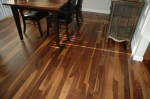 Dark Walnut Stained Hickory Floors With