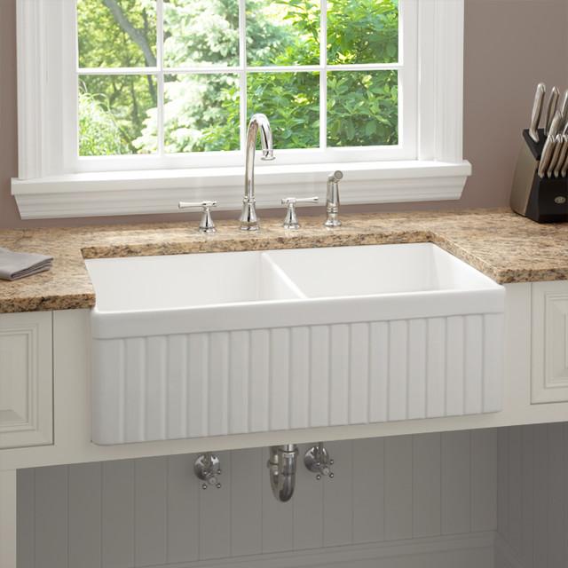 Double bowl fireclay farmhouse kitchen sink kitchen sink fluted apron