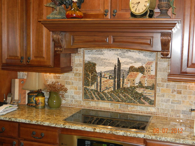 tuscany country tile mural traditional kitchen tile patchwork backsplash country style kitchen ideas homestead
