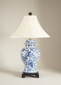 Blue and White Porcelain Temple Jar Table Lamp - Asian ...