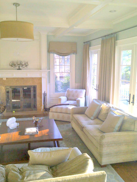 Charlotte Interior Designers Pale Blue And Cream Family Room - Transitional - Living